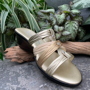 Metallic Cross-Over Wedge Sandal