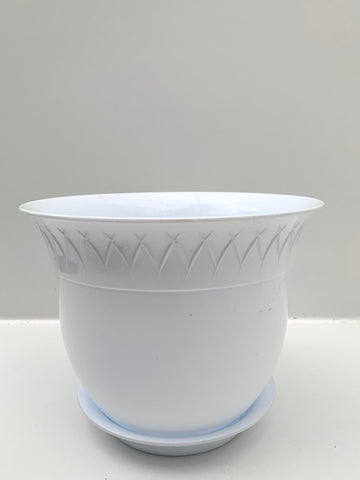 White Plastic Pot With Saucer