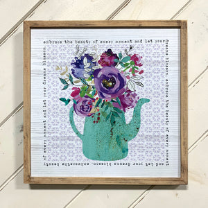 Floral Watering Can Print With Wood Frame (4417110048851)