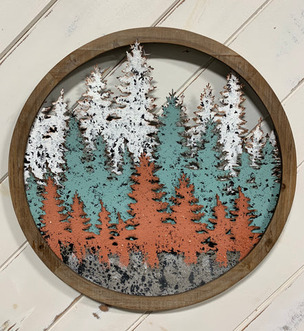 3D Round Wood Frame With Metal Trees (4417111359571)