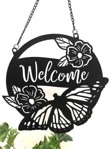 Welcome Butterfly metal sign