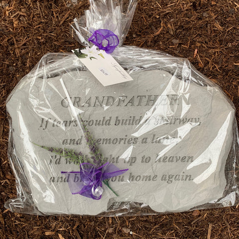 Grandfather Memorial Garden Stone in Cellophane
