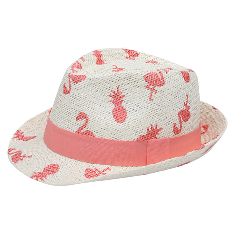 Kids Fedora Hat - Flamingo/Pineapple (4422020792403)