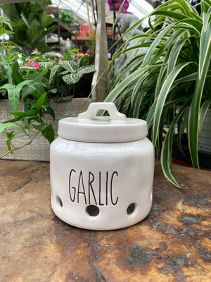 White Ceramic Garlic Jar (4417105068115)