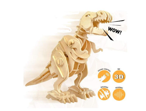 Sound Activated Walking & Growling T-REX 3D Puzzle