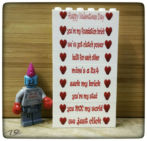 Valentine Slogan Printed Bricks 1x6