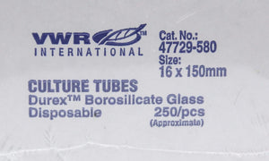 VWR International  47729-580 Culture Tubes 16 x 150mm 250/pcs NEW (2667)
