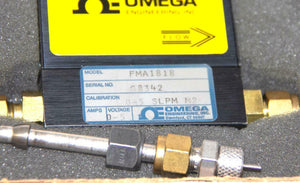 Omega FMA1818 Mass Flow Meter 0-5 L/min Gas N2 + Valves & Power Supply USED 7834
