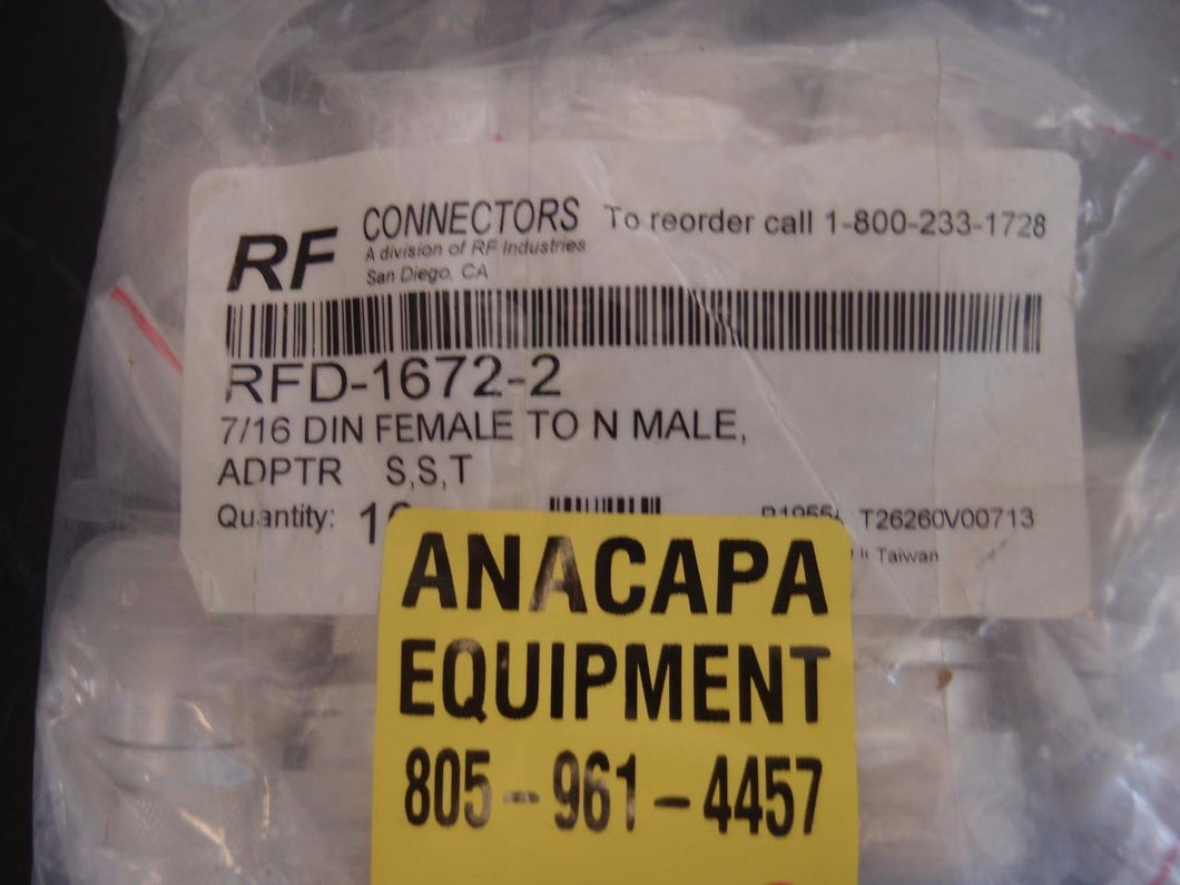 RF Connectors RFD-1672-2 7/16 DIN Female To N Male Adapter Lot of Ten (1218)