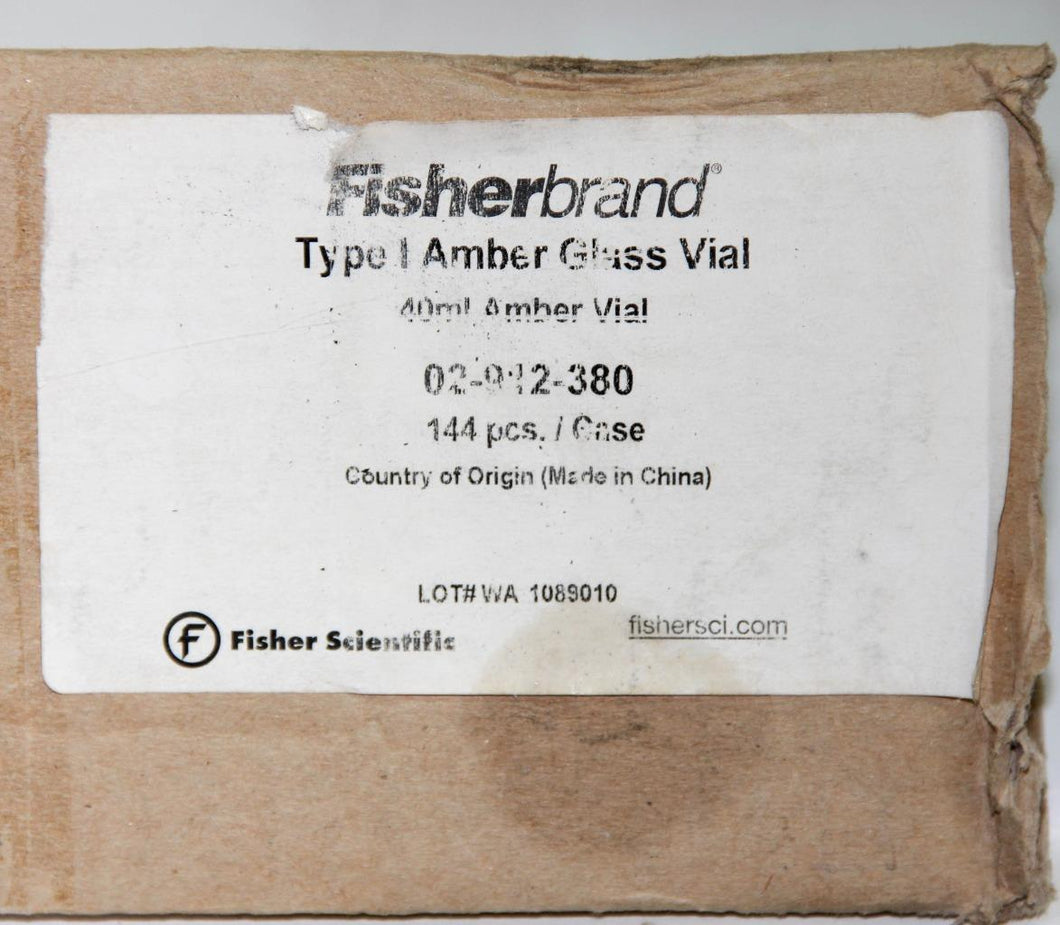 Fisherbrand Glass EPA Vial 02-912-380 w/ PTFE/Silicone Top 40mL, NEW, Lot (5396)