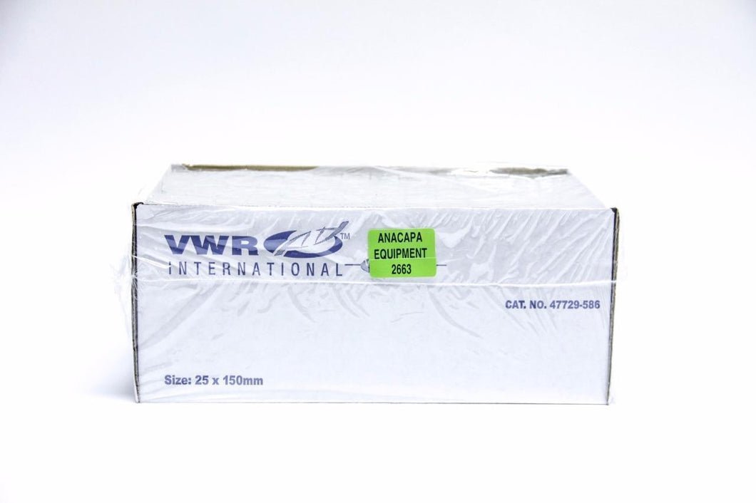 VWR International 25 x 150 mm 47729-586 Disposable Culture Tubes NEW (2663)