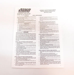 Staco Energy Products Variable Autotransformer 2510 & Operation Manual (4414)