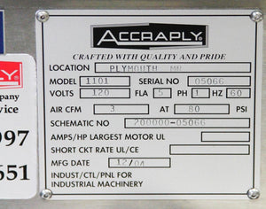 Accraply 1101 Labeler Labeling System Norwood RS-1100 Coder Lion LRD 2100 (6399)