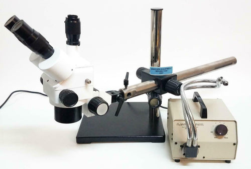 Meiji Trinocular Microscope Head Unbranded w McBain Light Source & Mount (6587)