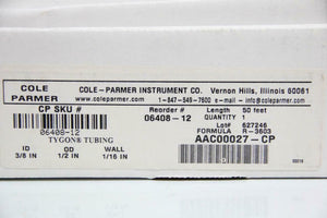 "(SET OF TWO) Cole-Parmer Lab Tubing, 3/8""id X 1/2""OD 50 Ft AAC00027-CP (5737) g"