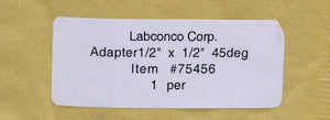 "Labconco 7545600 Adapter 1/2"" x 1/2"" 45 Deg, NEW (2648A)"