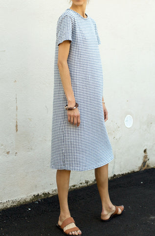 Knit Check Dress - Navy
