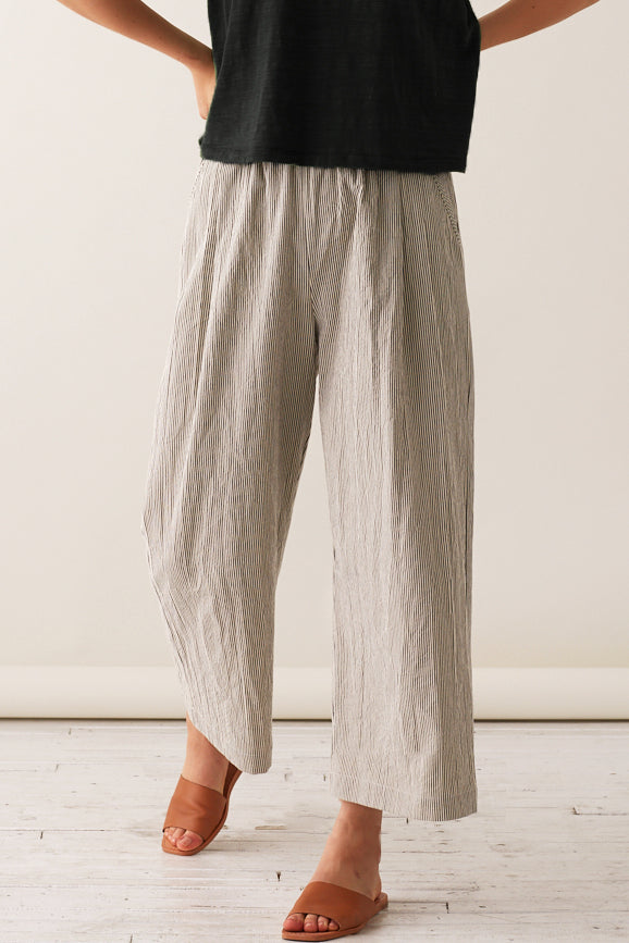 Pleated Pull-On Pants - Canvas Stripe