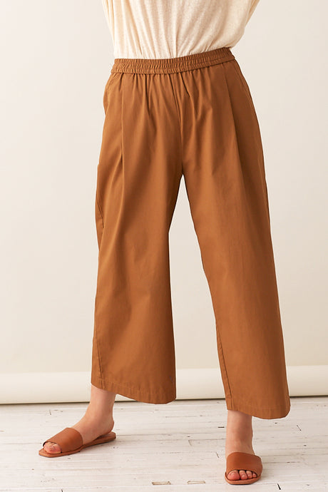 Pleated Wide-leg Pull-on Pants- Twill