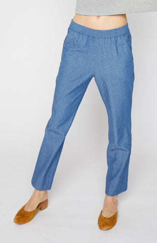 Tapered Pull-on Pants - Denim