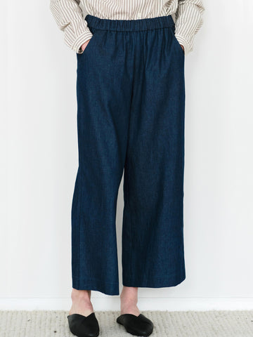 Wide Leg Pull-on Pants - Denim/Linen