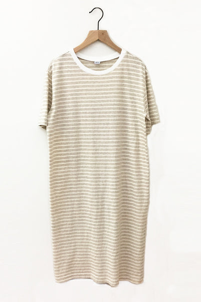 Recycled Stripe Tee Dress - Oatmeal