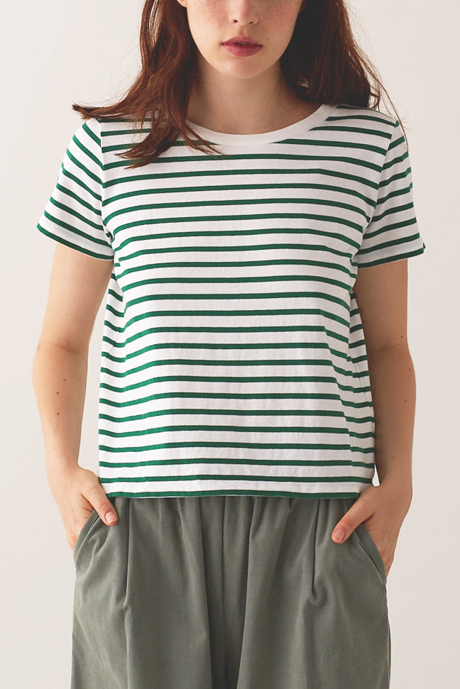 Jaime Box Tee - Green Stripe
