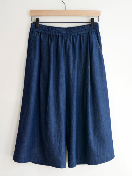 Long Twill Shorts - Denim/Linen