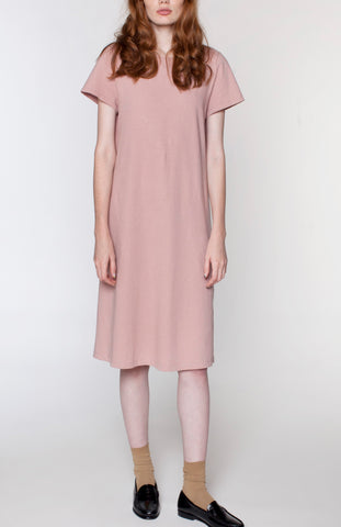 Cotton Linen Tee Dress - Eraser pink