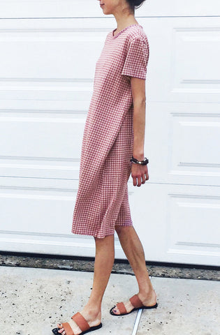 Knit Check Dress - Pink
