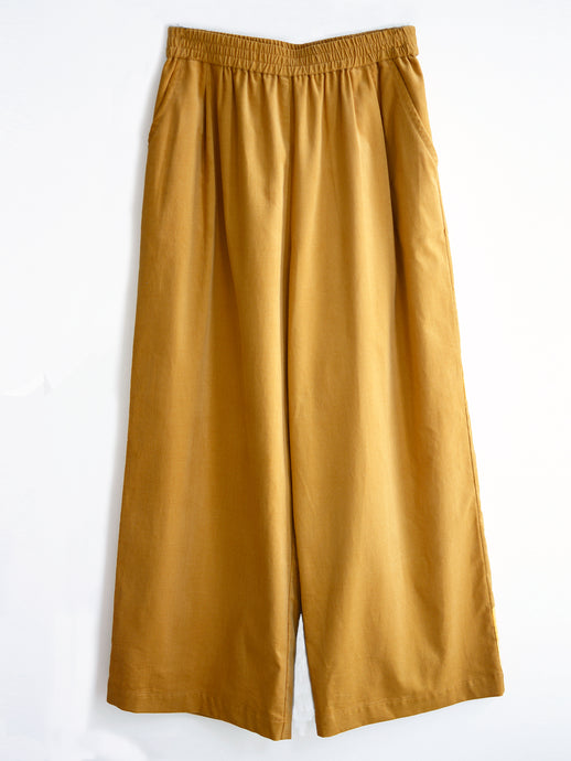 Pleated Wide-leg Pull-on Pants - Fine Corduroy, Golden Mustard