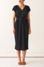 Load image into Gallery viewer, Tulip Dress - Midnight Polka Dot