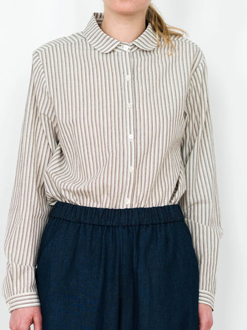 Round Collar Button-down Shirt - Cream Stripe