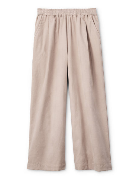 Pleated Wide-leg Pull-on Pants- Fine Corduroy, Pink Ground