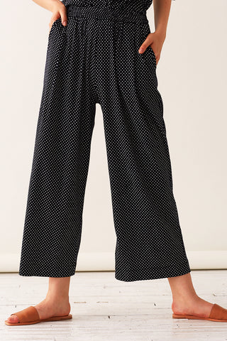 Pleated Pull-on Pants - Polka Dot Knit