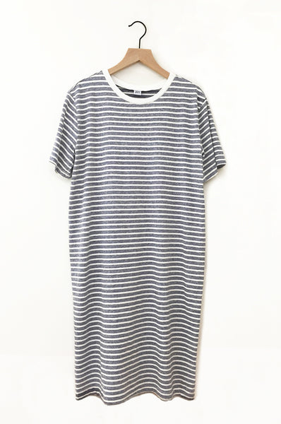 Recycled Stripe Tee Dress - Heather Blue/Cream