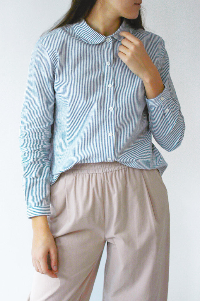 Round Collar Button-Down Shirt - Cotton/Ramie Stripe