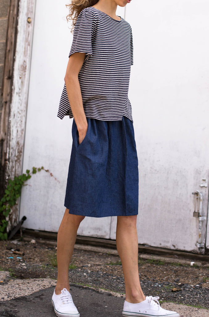 Gathered Sleeve Stripe Tee