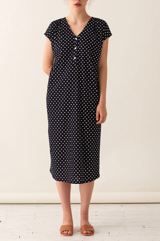 Tulip Dress - Midnight Polka Dot