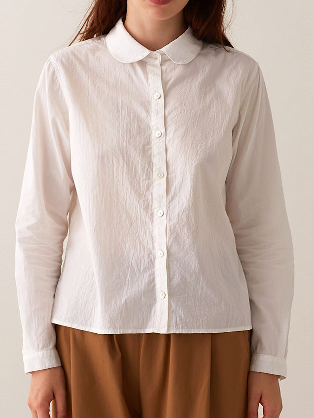 Round Collar Button-down Shirt - Corded White