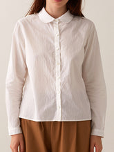 Load image into Gallery viewer, Round Collar Button-down Shirt - Corded White
