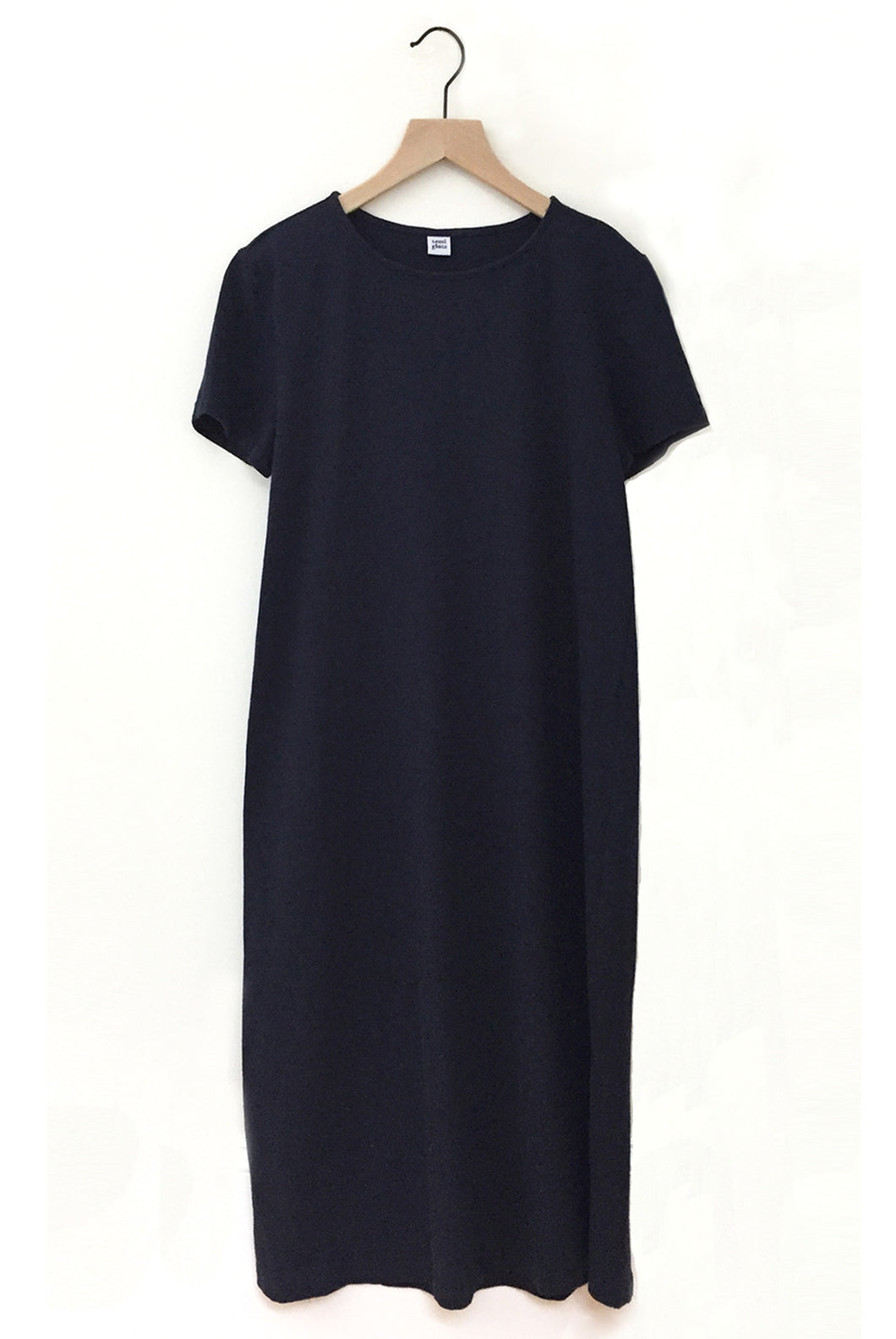 Cotton Linen Tee Dress - Navy