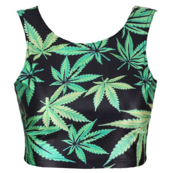 Green Marijuana 420 Leaf Graphic Printed Crop Tank Top - Neon Nation