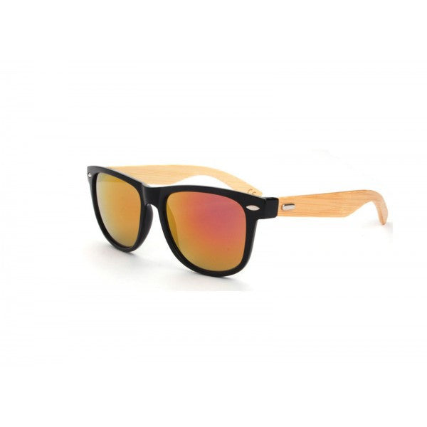 Hand Made Wayfarer Sunglasses w/ Bamboo Wood Temples & Mirrored Lens - Neon Nation