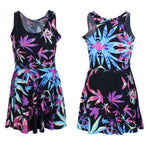 Load image into Gallery viewer, Neon Purple Pink & Blue Weed Marijuana Leaf Print Mini Dress Quality Spandex - Neon Nation