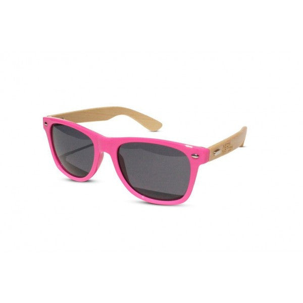 Hand Made Wayfarer Sunglasses w/ Bamboo Wood Temples and Colored Face - Neon Nation