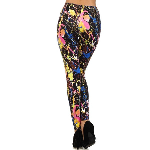 Neon Thrown Splattered Paint Leggings Graphic Bright Color Trendy Fashion Pants - Neon Nation