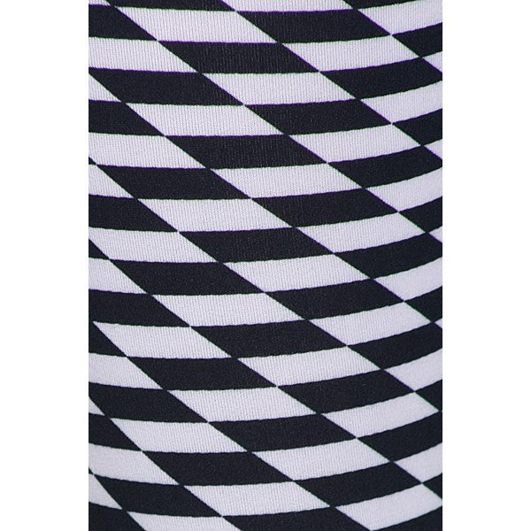 Black & White Checker Print Pattern High Waist Full Length Leggings Pants Sexy - Neon Nation