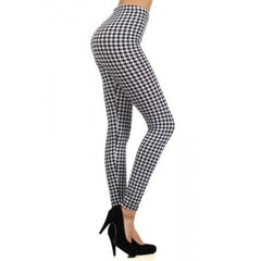 Houndstooth Pattern Graphic Print High Waist Leggings