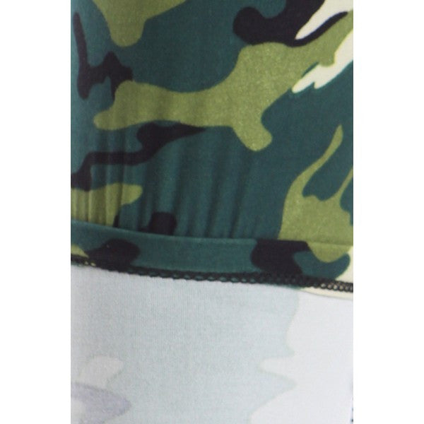 Green Camouflage Camo Graphic Print Pattern Sexy High Waist Leggings Pants - Neon Nation